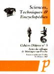 Cahiers Diderot, n° 5. Sciences, techniques et encyclopédies : actes